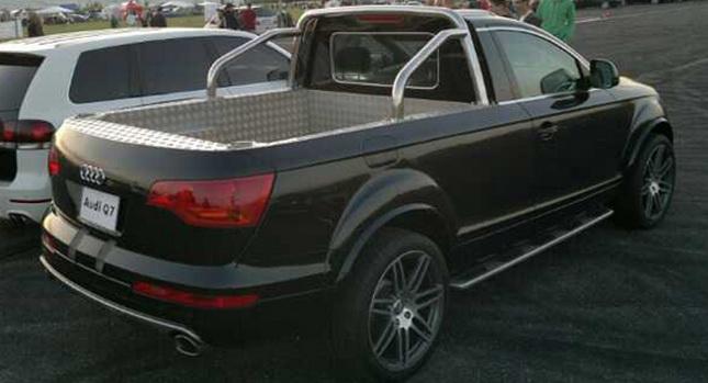 Inkább nem is akarjuk tudni, kinek jutott eszébe egy Audi Q7-esből efféle szörnyet kreálni.
