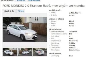 Ford Mondeo eladó, mert anyám azt mondta