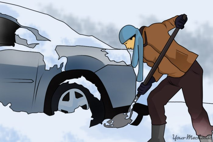 5 - How to Free a Frozen Parking Brake - Person shoveling snow with a snow shovel to create a barrier on one side of a car