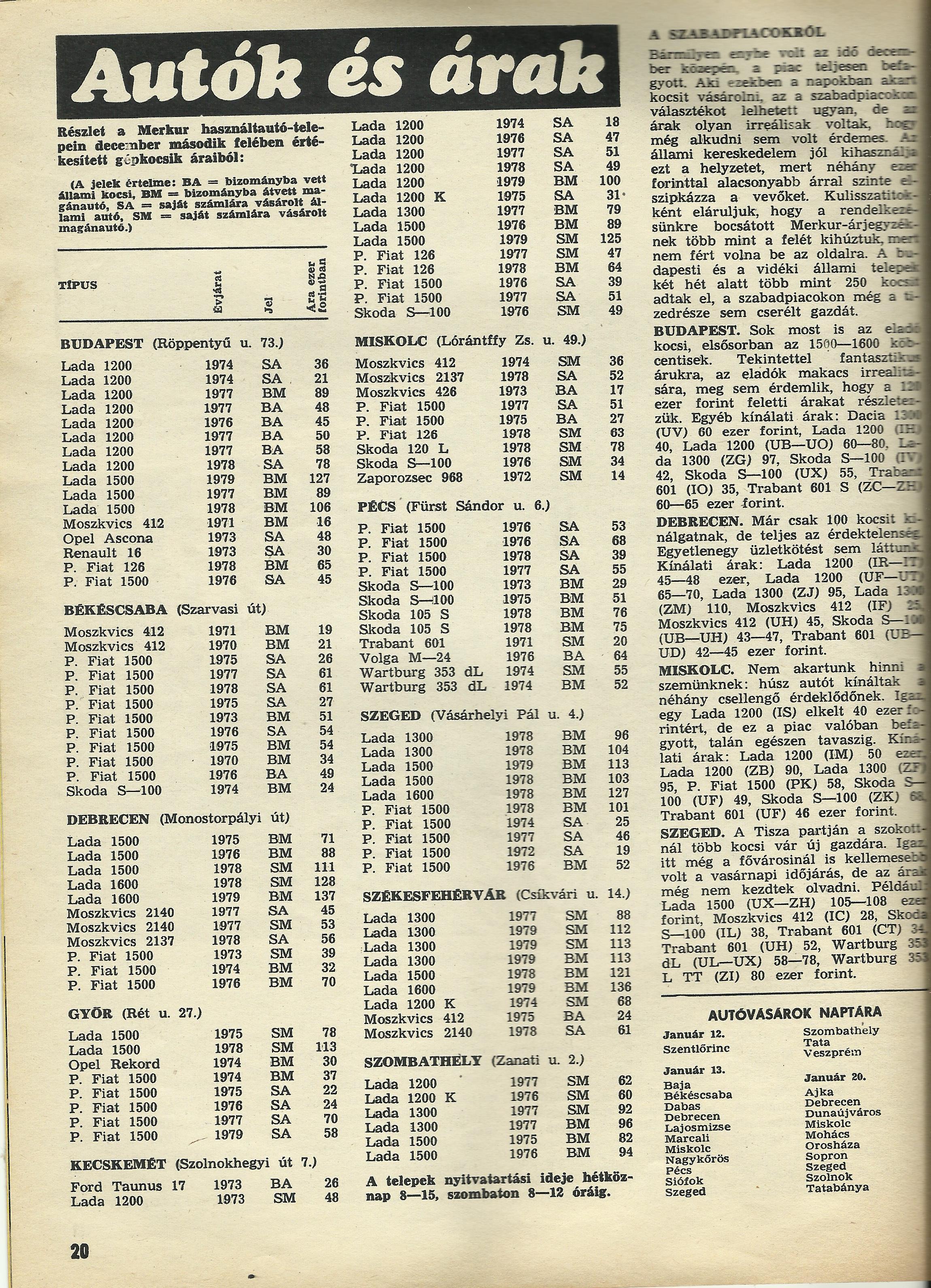 A lany a korbol 51 - Haszn Lt Aut S Rlista 1980 B L Az Aut Motor Magazinb L
